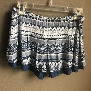 Free People Tribal Print Shorts Blue White